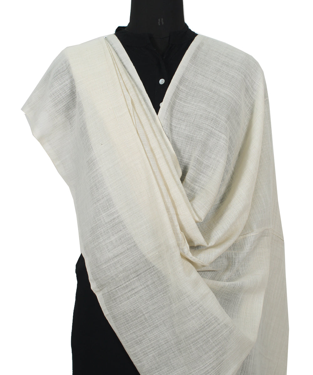 Handwoven White And Periwinkle Cotton Dupatta