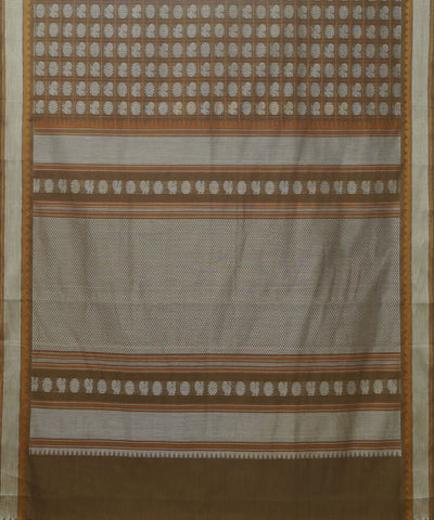 Thousand Butta Handwoven Brown Kanchi Saree
