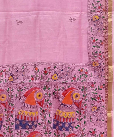 Madhubani Rose Pink Hand Painted Silk Saree