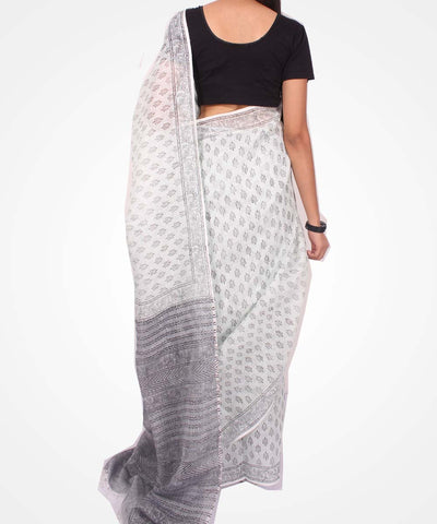 Handwoven Light Mint And Grey Linen Saree