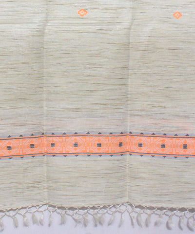 Tussar Silk Off White Handwoven Shawl