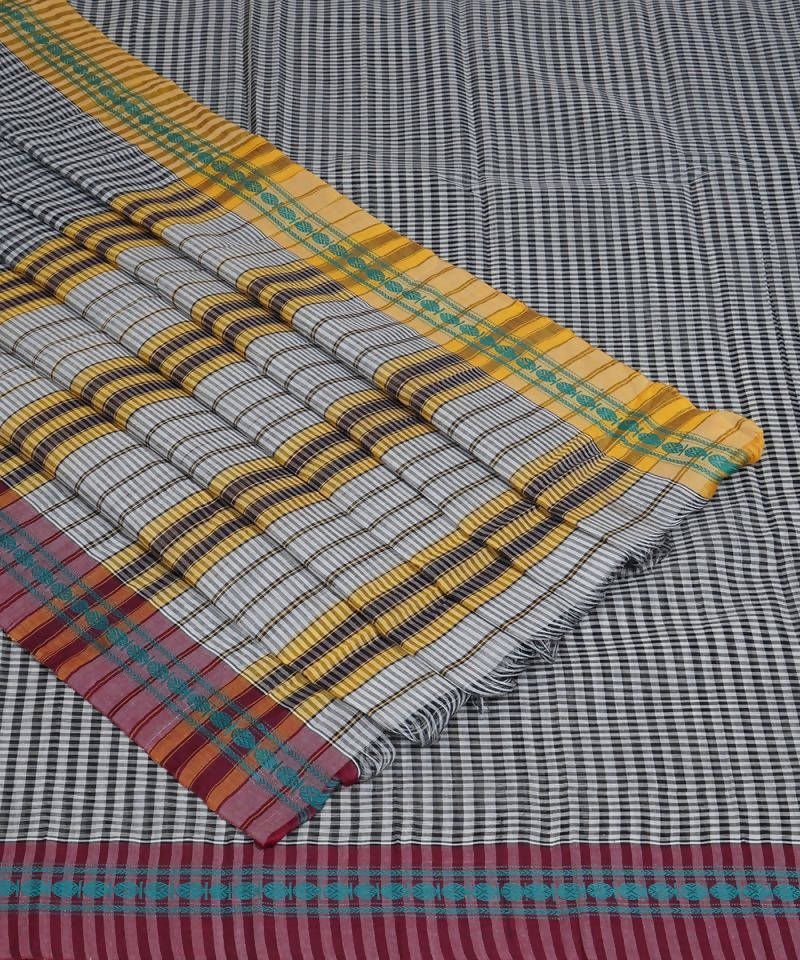 Grey Checks Narayanpet Cotton Saree