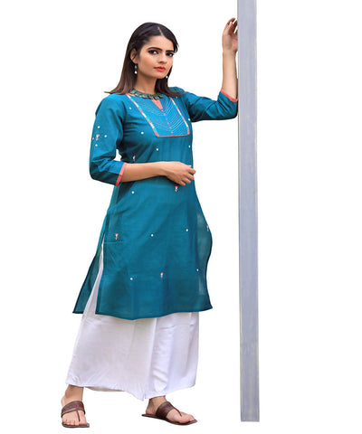 Blue mangalgiri straight cotton kurta