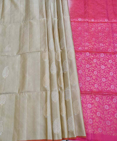 beige brown pink Handloom Soft Silk Saree