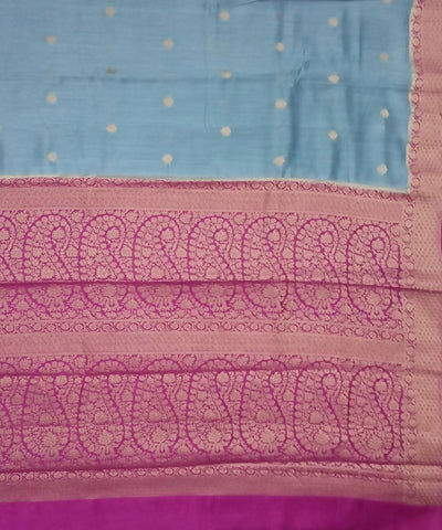 Banarasi Stone Blue and Purple Handloom Silk Saree