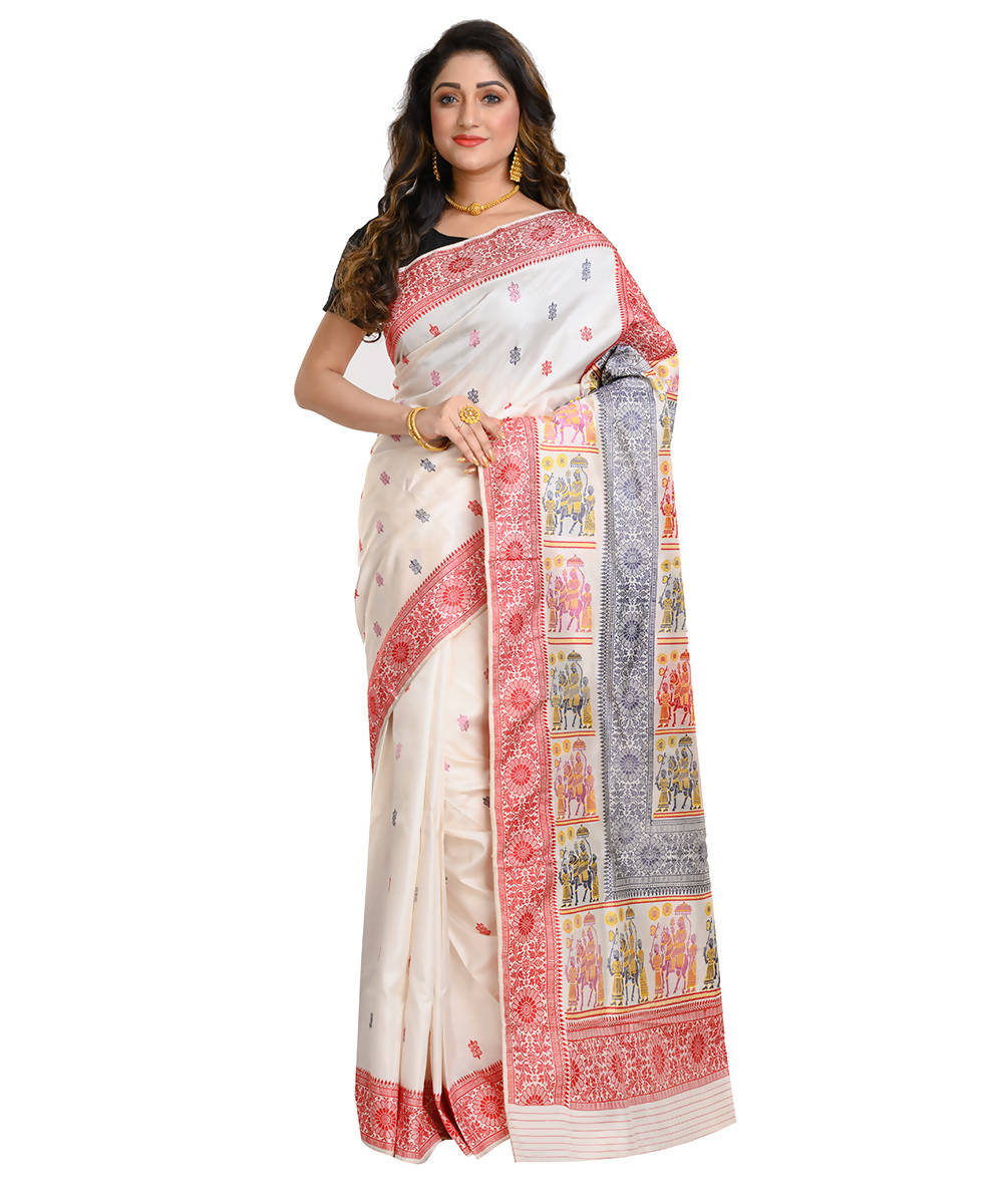 White and red handwoven baluchari mulberry silk saree