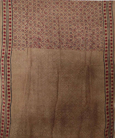 Red and black Ajrakh Handblock on coffee brown Handloom Cotton Saree