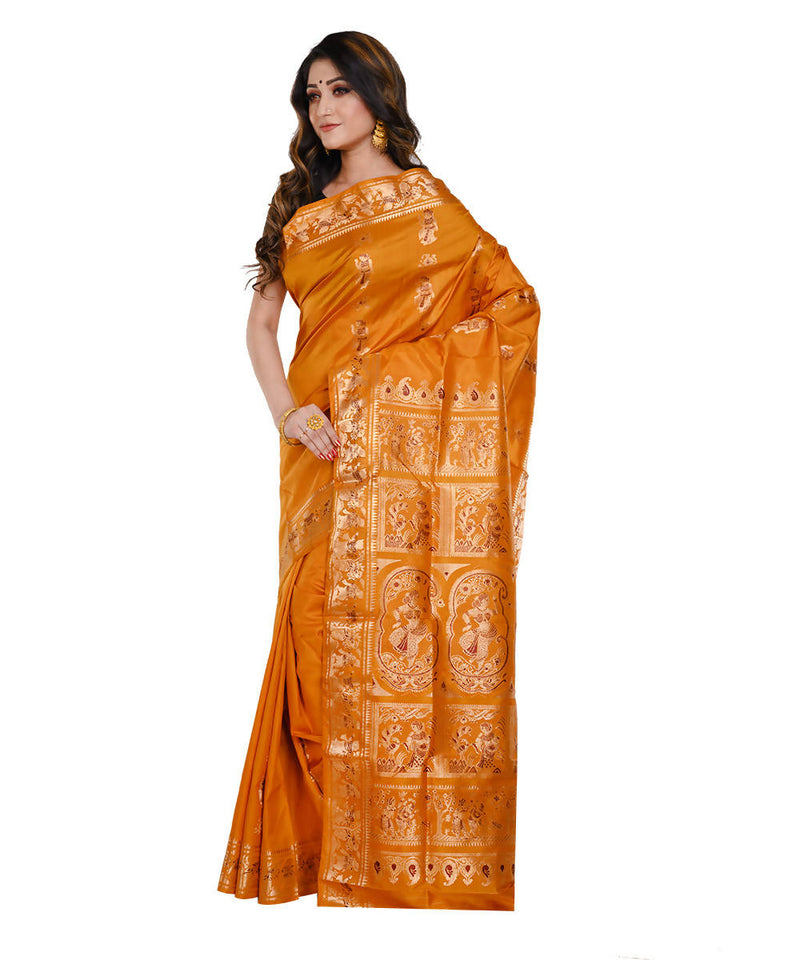 Chrome yellow baluchari handwoven Silk Saree