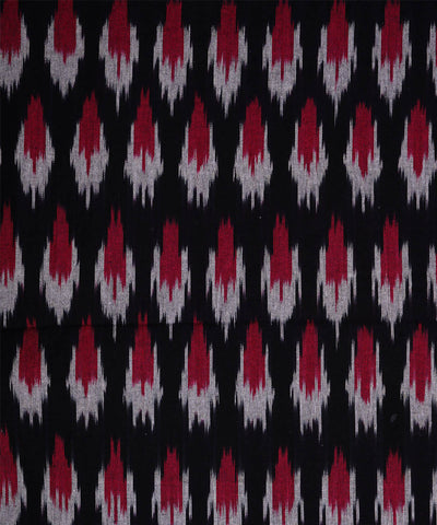 Black Handwoven Ikat Cotton Fabric