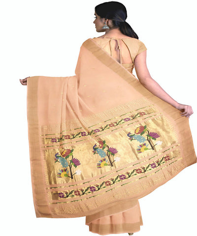 Light Peach Handloom Paithani Cotton Saree