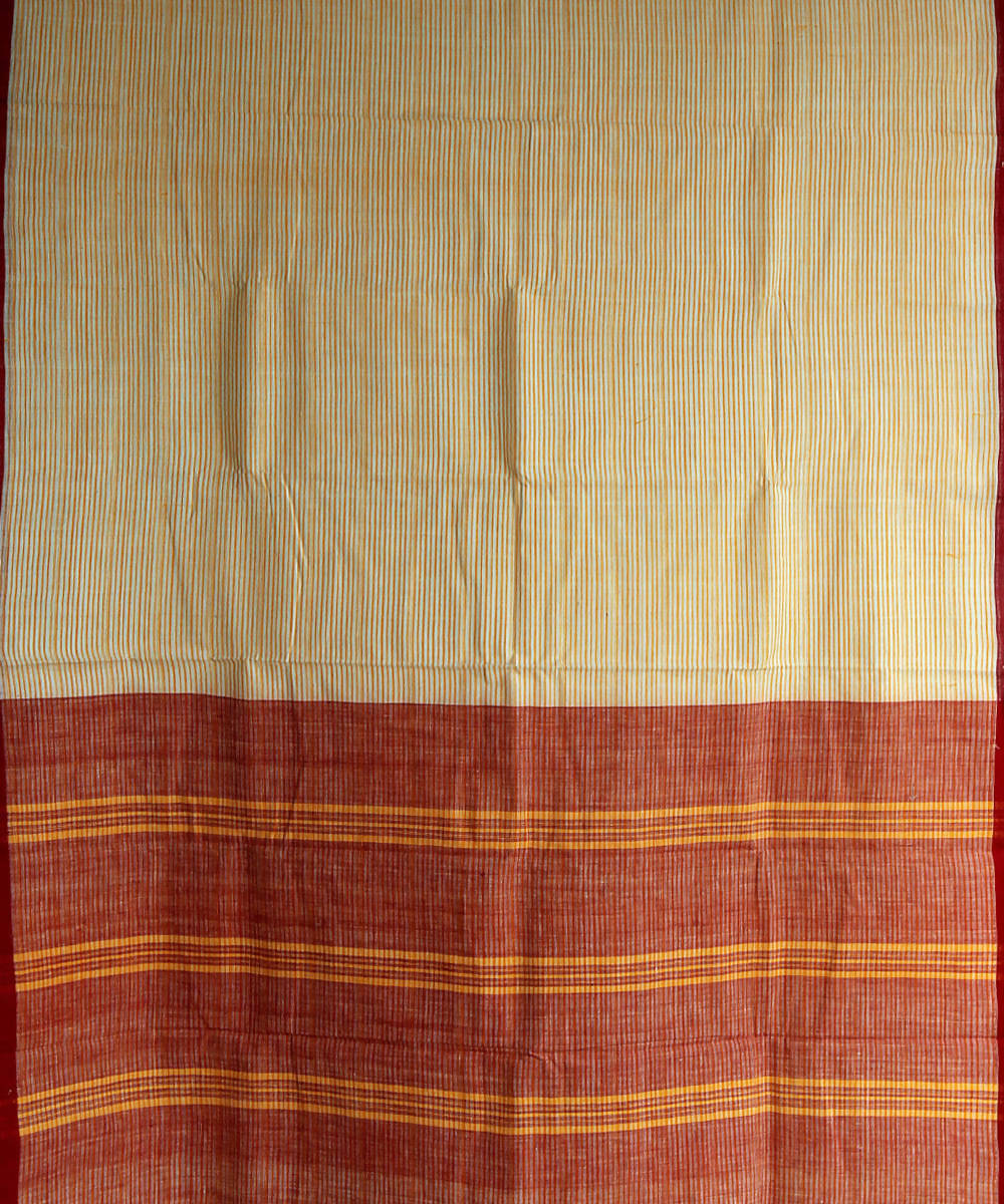 white yellow striped khadi handwoven cotton saree