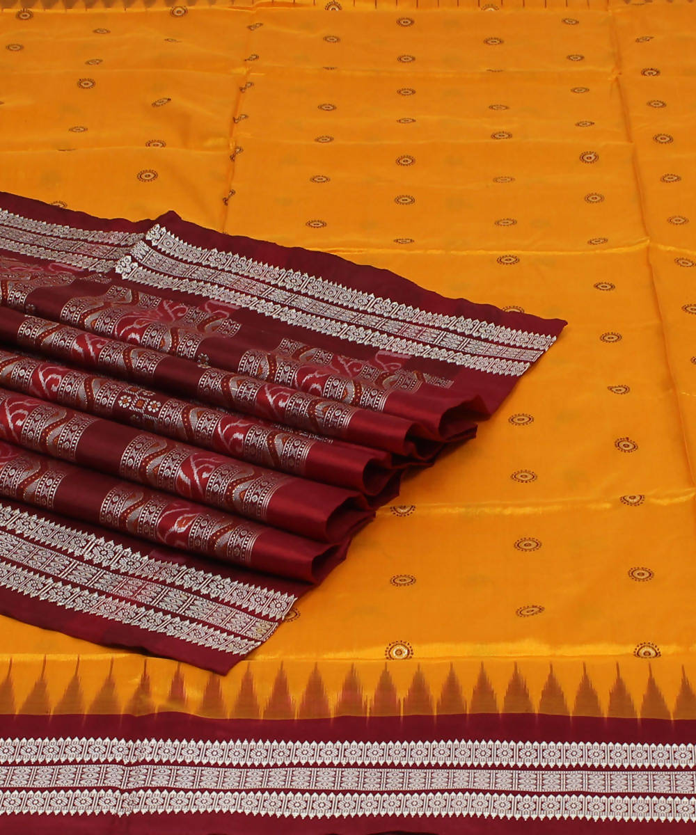 Golden Yellow Handloom Bomkai Silk Saree