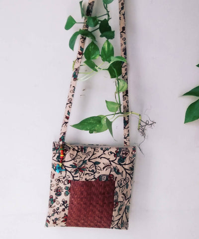 Beige Brown Handwoven Sitalpati and cotton fabric Sling Boho Bag