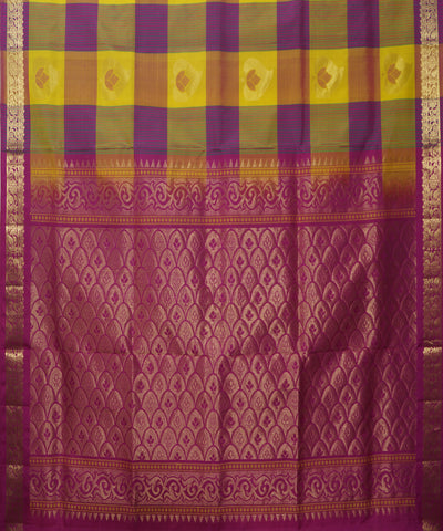 Yellow Purple Checks Handloom Soft Silk Saree