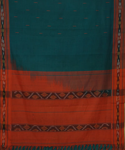 Turquoise Orange Handloom Kanchi Cotton Saree