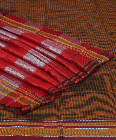 Ilkal Checks Brown Handwoven Saree