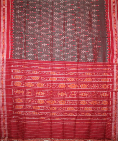 Handwoven Nuapatna Ikat Cotton Saree in Reddish Green and Maroon