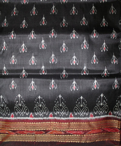 Handwoven Khandua Silk Saree of Nuapatna in Black and Dark Maroon
