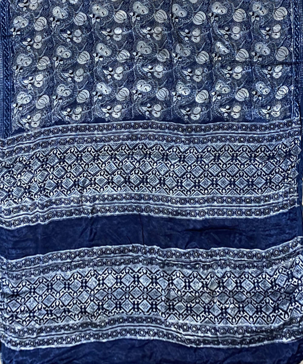 Indigo hand block print chanderi cotton saree