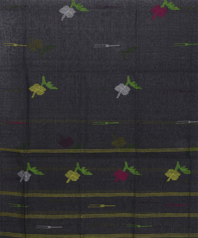 Black Manipuri Handloom Cotton Stole