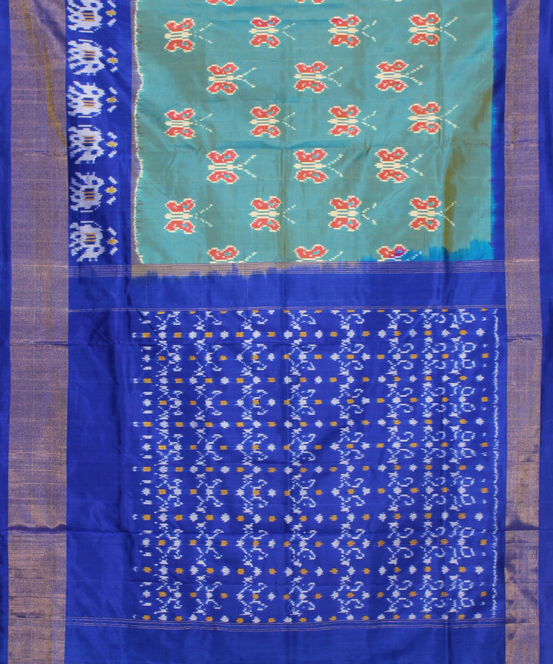 Handwoven sea green blue ikkat silk pochampally saree
