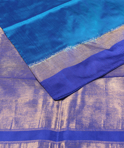 Handwoven Sea Green Blue Ikkat Silk Saree