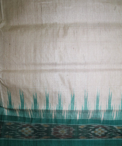 Handwoven Tussar Silk Saree of Gopalpur in Offwhite and Green