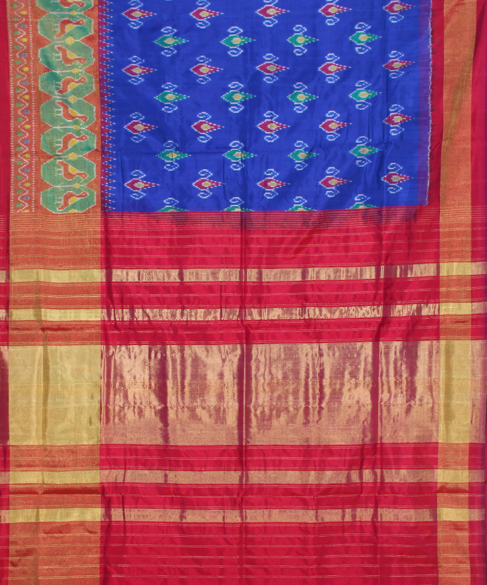 Blue and red handloom ikkat silk pochampally saree