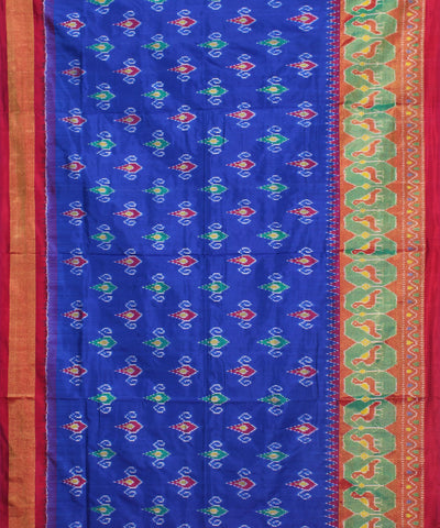 Blue and Red Handloom Ikkat Silk Saree