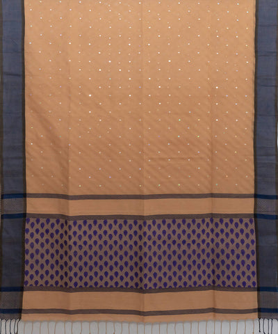Brown jamdani handspun handloom cotton saree