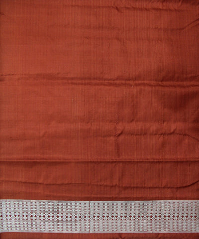 Handwoven Sambalpuri Ikat Silk Saree in Rust