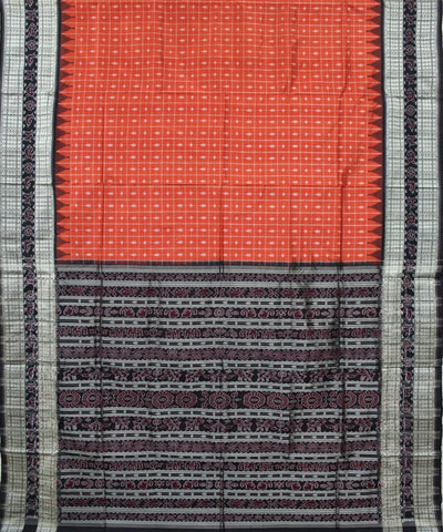 Handwoven Sambalpuri Ikat Silk Saree in Cinnabar and Black