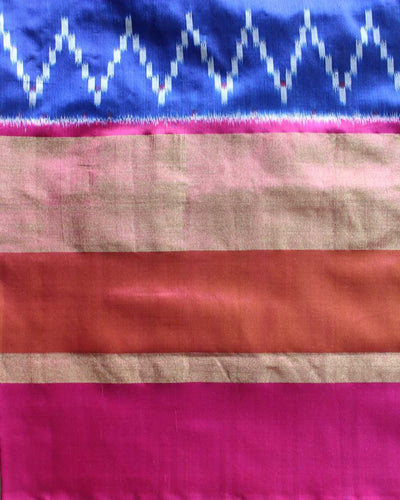 Ikkat Rajkot type blue and dark pink silk saree