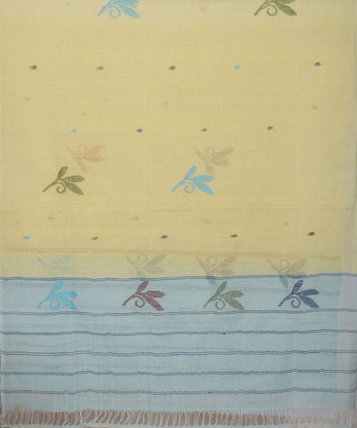Yellow and Sea Green Manipuri Handloom Stole