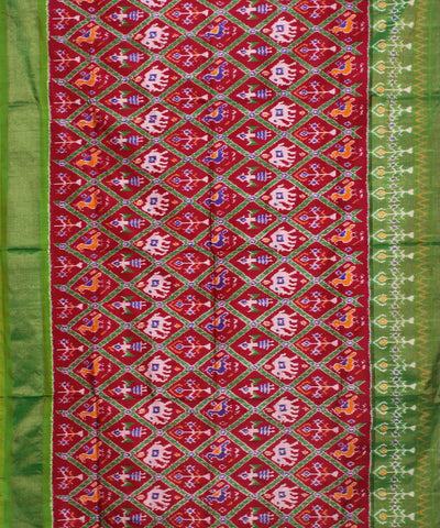 Magenta Green Handloom Ikkat Silk Saree