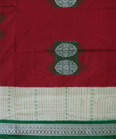 Handwoven Bomkai Silk Saree of Sonepur in Maroon and Parrot Green
