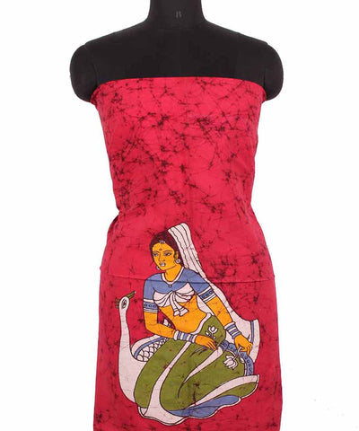 Batik Magenta HandPainted Cotton Kurti Fabric