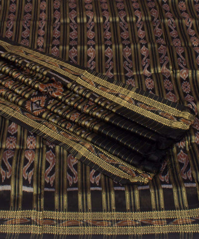 Black Patli Handwoven Khandua Silk Saree