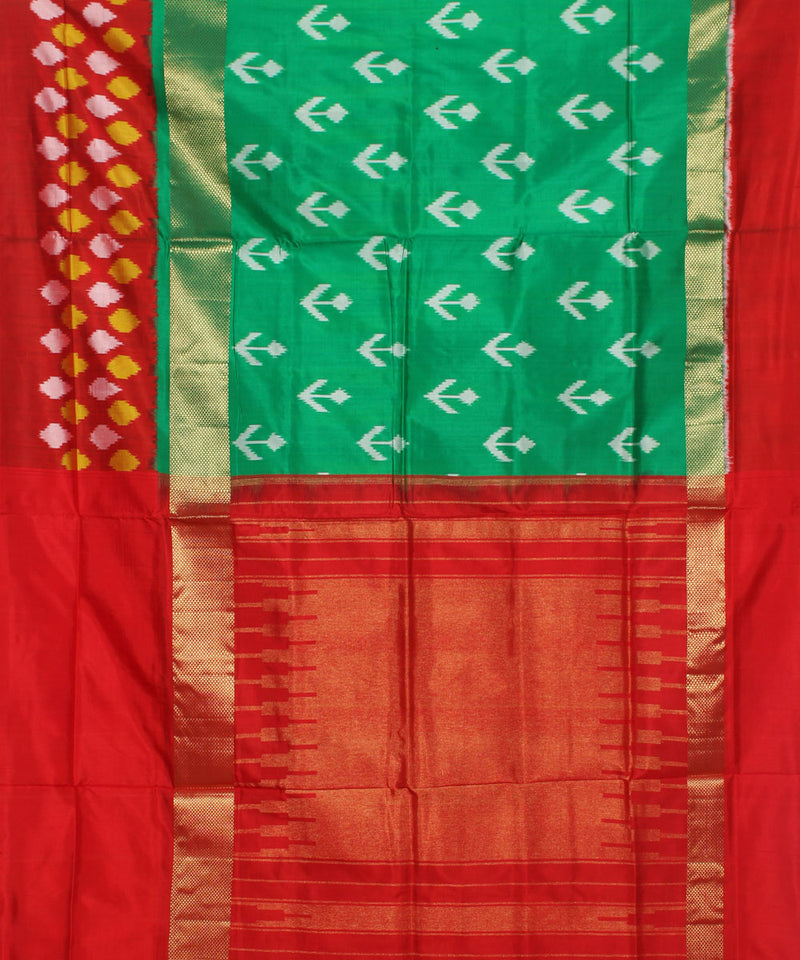 Dark Sea Green Handwoven Ikkat Silk Saree