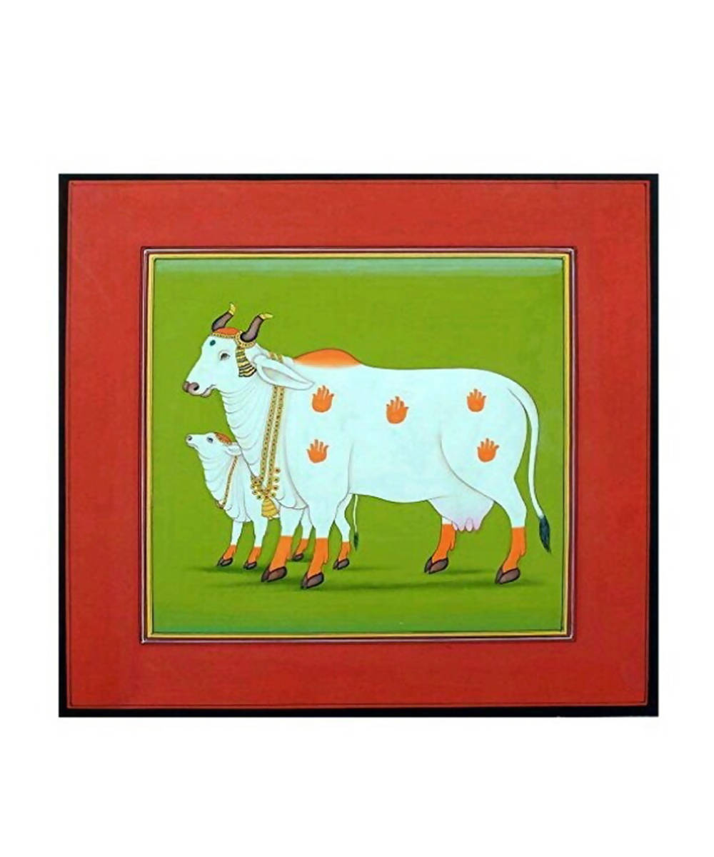Handmade pichwai cow painting (green and red background) on handmade paper