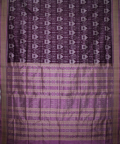 Handwoven Pasapalli Silk Saree in Purple and Electric Lavender