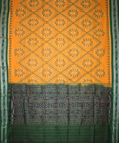 Handwoven Nuapatna Ikat Cotton Saree in Yellow and Parrot Green