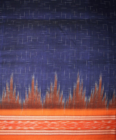 Handwoven Nuapatna Ikat Cotton Saree in Blue and Orange