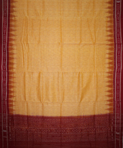 Handwoven Nuapatna Ikat Cotton Saree in Light Yellow and Red