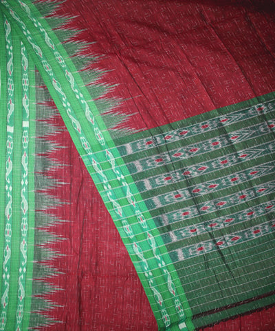 Handwoven Nuapatna Ikat Cotton Saree in Dark Maroon and Parrot Green