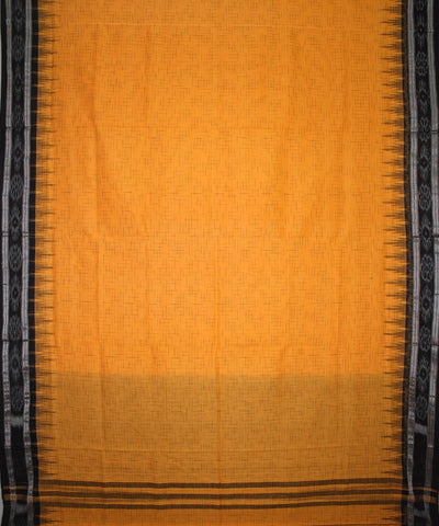 Handwoven Nuapatna Ikat Cotton Saree in Yellow and Black