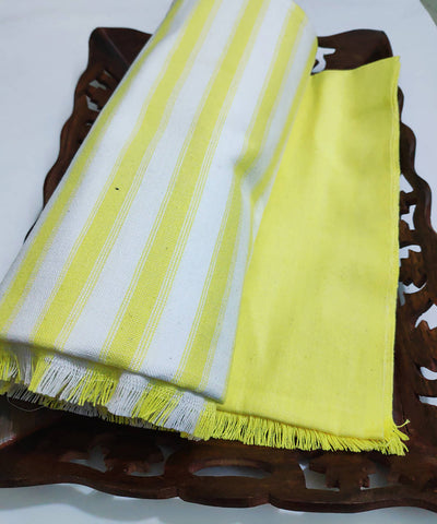 Light yellow stripes Handwoven cotton towel