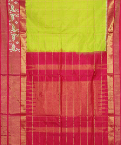 Green Pink Check Handloom Ikkat Silk Saree