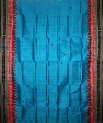 Handwoven Khandua Silk Saree of Nuapatna in Dodger Blue and Black