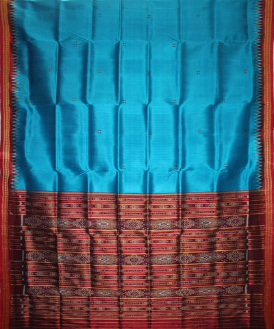 Handwoven Khandua Silk Saree of Nuapatna in Dodger Blue and Maroon